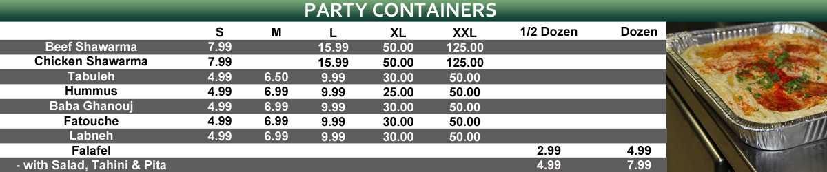 Shawarma party containers prices